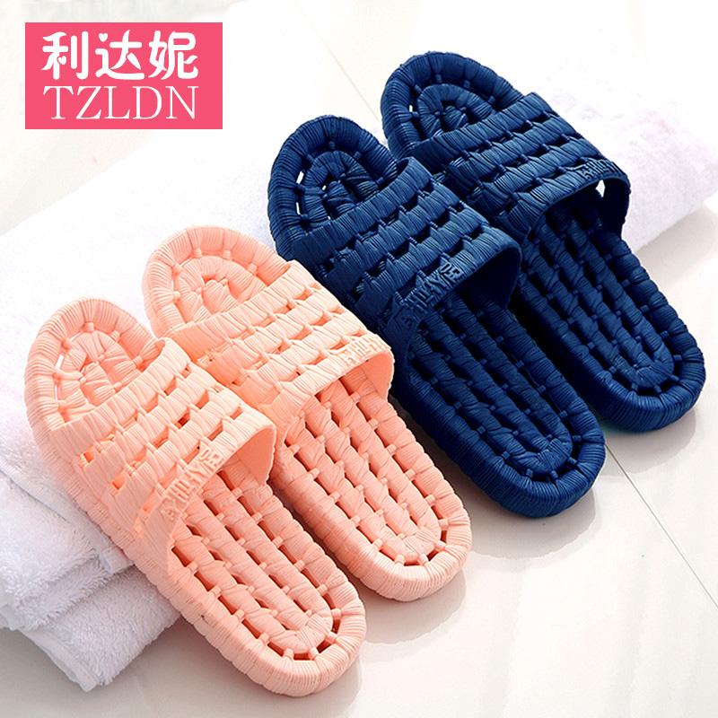 浴室拖鞋男女夏季情侣居家居室内防滑镂空漏水洗澡塑料地板凉拖鞋