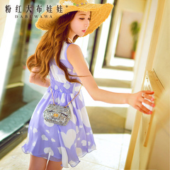 Chiffon dress pink doll 2015 summer dresses in summer tide dress v neck sleeveless summer dress