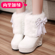 2015 winter and plush short boots women high heel wedges boots Korean bow warm fur boots with round head boom