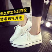 Fall 2015 breathable shoes flat heeled loafers shoes UK small wind Lok Fu pointy white shoes casual shoes wave