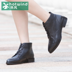 Hot wind of England pointed lace short boots women short boots casual shoes black square root H81W5413