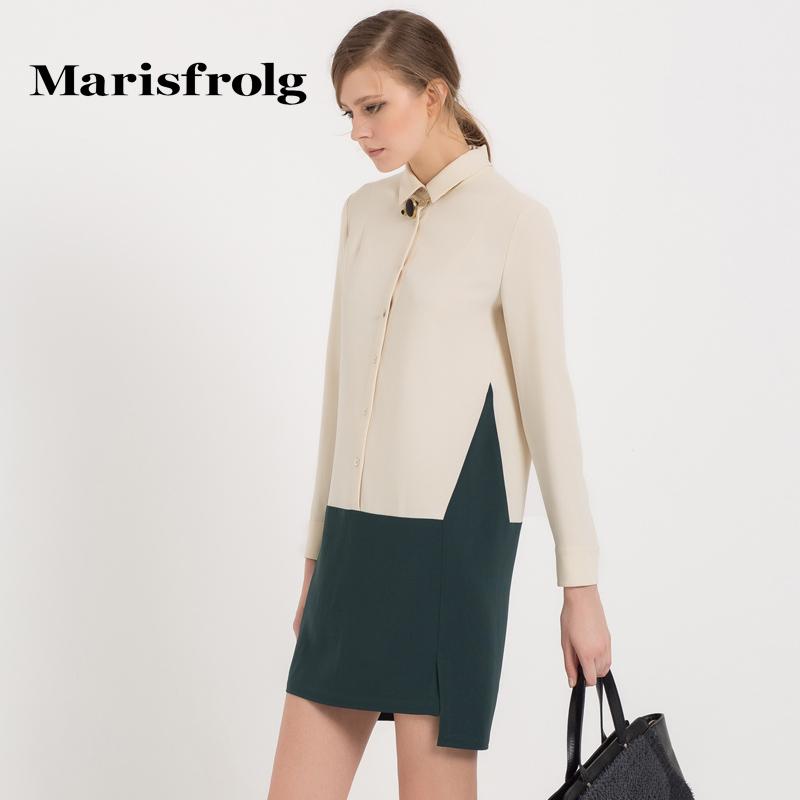 Marisfrolg玛丝菲尔 素雅撞色衬衫式连衣裙 专柜正品秋季新女装