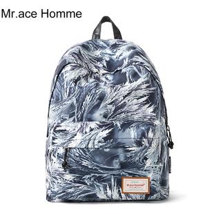Mr.ace Homme印花双肩包女韩版潮休闲背包旅行背包中学生书包男
