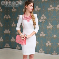 2015 dress big pink dolls seven-sleeve temperament the new white v neck dress