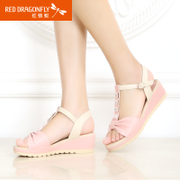 Red Dragonfly genuine leather women sandal 2015 summer styles comfortable wedges casual rhinestones colour matching shoes