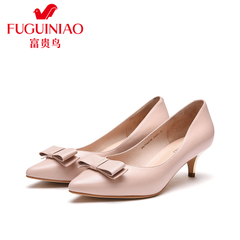 Fuguiniao shoes spring of 2016 new leather shoes women's pointed bow high heels black work shoes women