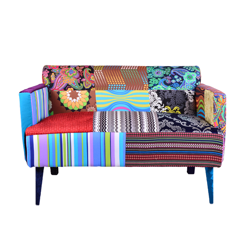 现代简约双人休闲混搭民族风撞彩色拼花布艺沙发店面咖啡厅工作室
