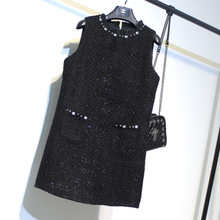 女裙子秋qp1黑色粗花xx手工钉珠显瘦无袖背心袖连衣裙大码