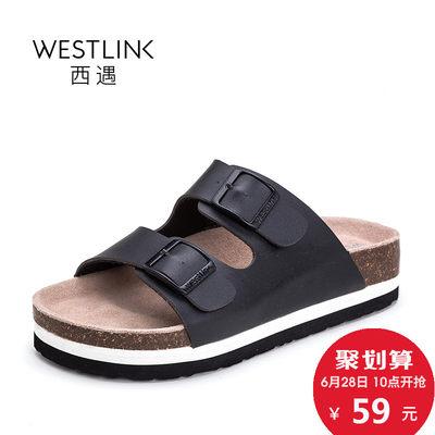 西遇2017夏季新款凉拖鞋女时尚外穿简约平底沙滩拖女一字软木拖鞋