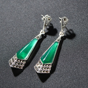 Very Thai inlaid silver green agate gemstone earrings 925 Silver marks match women''s Europe and elegant Silver jewelry
