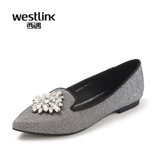 Westlink/West fall 2015 the new elegant aristocratic temperament rhinestone pointy asakuchi shoes women's shoes