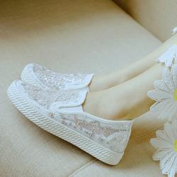 2020春夏新百搭低帮套脚网布女鞋休闲蕾丝透气网面帆布鞋女小白鞋