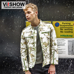 Viishow2015 man jacket camouflage jackets men's printed cotton jacket collar coats spring loaded
