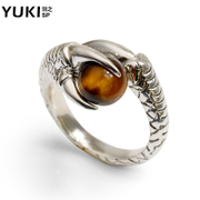 YUKI men opening Thai silver ring 925 Silver ring ring Tiger''s eye stone dragon claw domineering personalities in Europe and original design