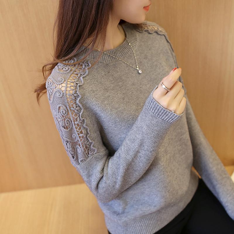 秋冬新款韩版女装短款蝙蝠衫秋季长袖圆领宽松针织衫女套头毛衣潮