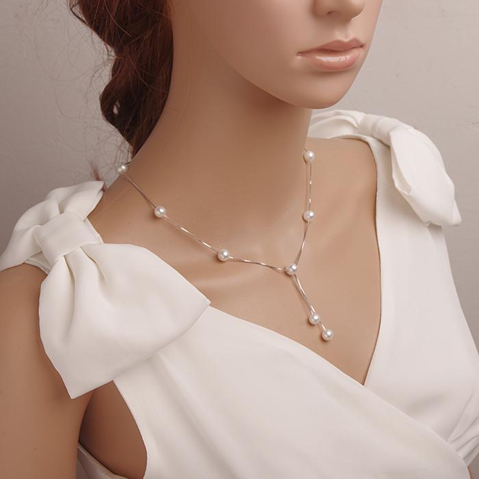 满天星天然淡水珍珠项链双流苏吊坠 近圆无瑕强光纯银防过敏正品