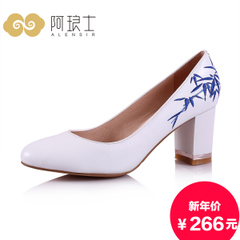 Alang's 2015 national wind in autumn shoes coarse with blue and white high heel shoes women 210