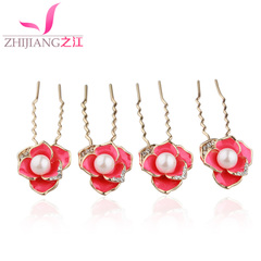 Zhijiang u-clip hair accessories hair clip Korea headdress Camellia Pearl hairpin hair pins made by small plug
