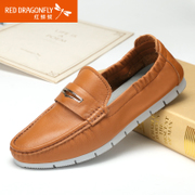 Red Dragonfly leather men's shoes in summer 2015 new authentic Korean Air set foot comfort wear men's shoes