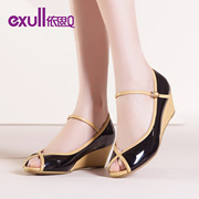Exull new q2015 spring fish mouth shoes platform high heel patent leather Velcro asakuchi women shoes 15152284