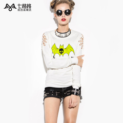 Seven space space OTHERMIX bat prints loose long sleeve round neck cut off the shoulder Turtleneck Sweater women