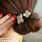 Known temperament translucent faux Pearl shell NI new hair accessories rhinestone flower hair tie rope end Korean hair accessories