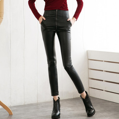 Spring and autumn in Europe and America sexy slim slimming high waist zipper design black leather pants feet pants, pencil pants 9246