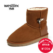 Westlink/West new real cowhide 2015 winter snow boots warm Horn button short tube feet men's boots
