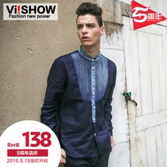 Viishow 2015 spring men's shirts men's Joker washed stitching shirts cotton non-iron shirts