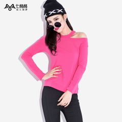 Seven space space OTHERMIX sexy strapless slim slimming solid color boat neck long sleeve t-shirt woman