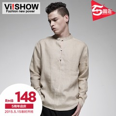 New men's solid color linen shirt viishow2015 spring casual retro Korean long sleeve shirts men Chao