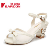 Kang shoes summer 2015 new genuine commute comfortable and cool in coarse with stylish rhinestone women high heel shoes