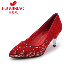 Rich bird fall 2015 new rhinestones leather shoes women shoes high heel stiletto pointy wedding shoes