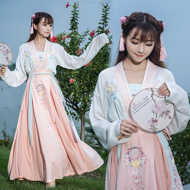 实拍汉元素绣花民族风日常汉服上衣 抹胸 襦裙现代古装三件套图片