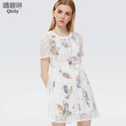 Fine bi Linda 2015 spring/summer new dress lace dresses, Korean version of slim short sleeve print two piece suit skirt