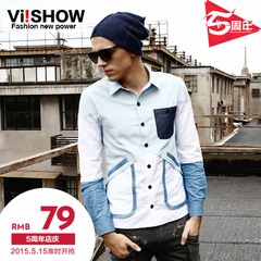New men's long sleeve shirt viishow2015 spring tide men's casual Oxford slim fit long sleeve shirt