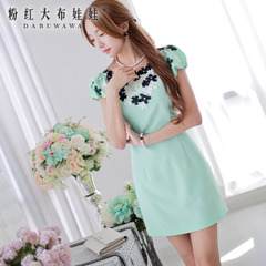 Dress big pink doll summer 2015 new light green trimmed flowers slim fit a short sleeve dress