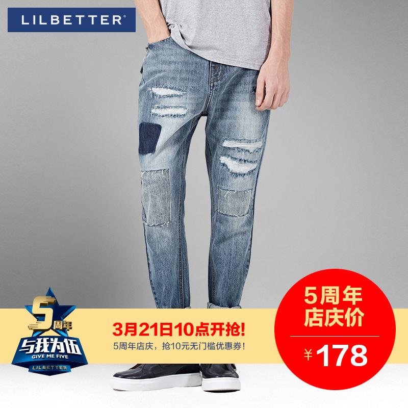 Lilbetter男士牛仔裤 破洞补丁水洗单宁长裤青年修身哈伦休闲裤男