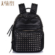 Fanciful 2015 rivet washed leather backpack new summer punk girl Korean version of soft leather backpack surge backpack