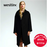 Westlink/West New 2015 winter dropped shoulders loose long wool woolen cloth coat in black women's blouses