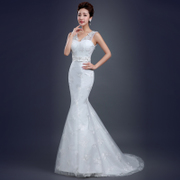 2015 new simple spring wedding dresses fashion dual shoulder v neck small tailed fishtail wedding dress lace thin summer