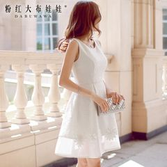 Pink lace dress dolls 2015 late autumn new temperament ladies slim vest dress