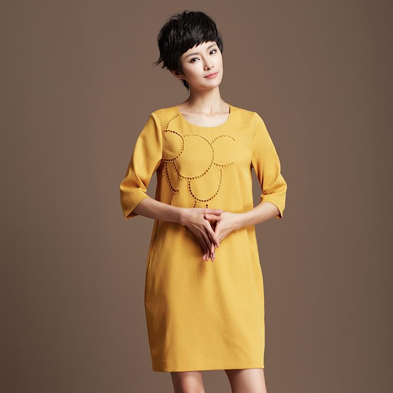 春季女装新款欧美中长款宽松大码优雅七分袖春装女连衣裙