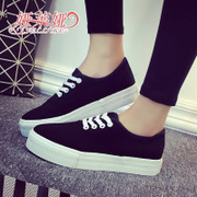2015 fall thick-soled canvas shoes girl Korean version flows low solid color Joker strap shoes flat casual shoes