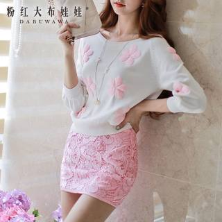 Sweater girls big pink doll 2015 autumn new Korean wave women loose fashion knitting sweater