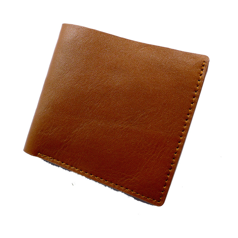 Bronck thin short simple Mini Wallet wallet wallet wallet two card leather cowhide men and women 6023