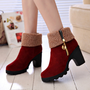 2015 new Europe and in autumn and winter boots women short barrel stout Martin boots with zipper boots naked in high heels boots women's boots