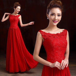 Bride toast clothing spring/summer 2015 red long wedding dress new fashion dual shoulder party dress slim