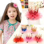 Know NI children hairpin lace Pearl Crown clip Korea girls baby clips hair accessory jewelry