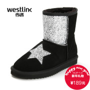 Westlink/West 2015 winter new fashion stars sequin short tube warm women's boots leather snow boots
